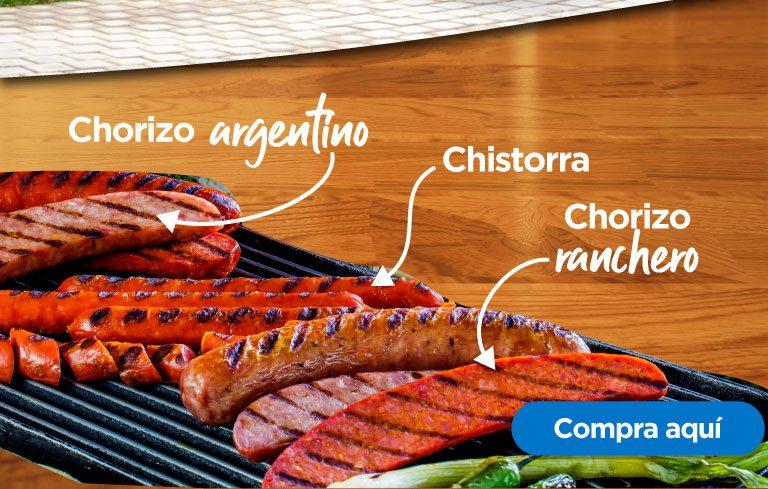 Chorizo argentino, ranchero, chistorra