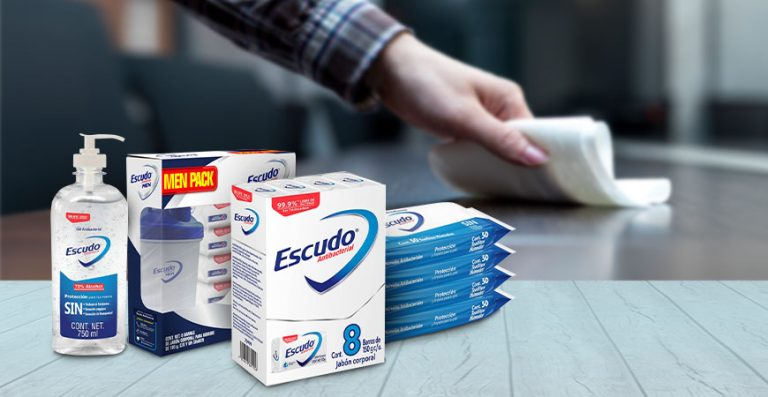 Jabón, toallitas, gel. Escudo antibacterial