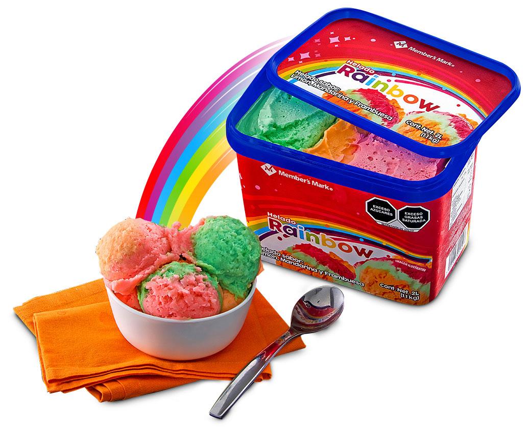 Tazón con helado Rainbow